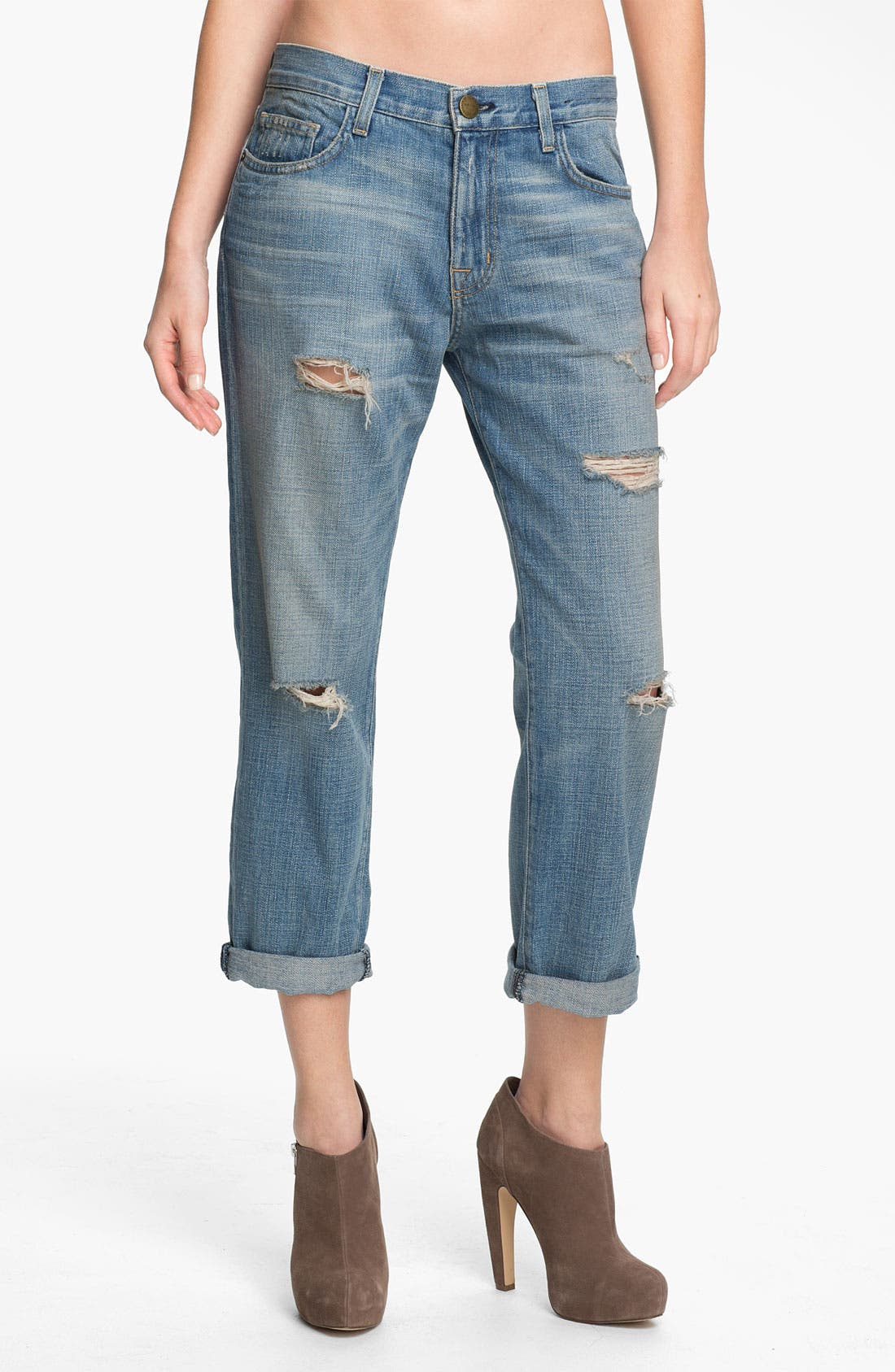 Main Image - Current/Elliott 'The Boyfriend Jean' Stretch Jeans (Super Loved Destroy)