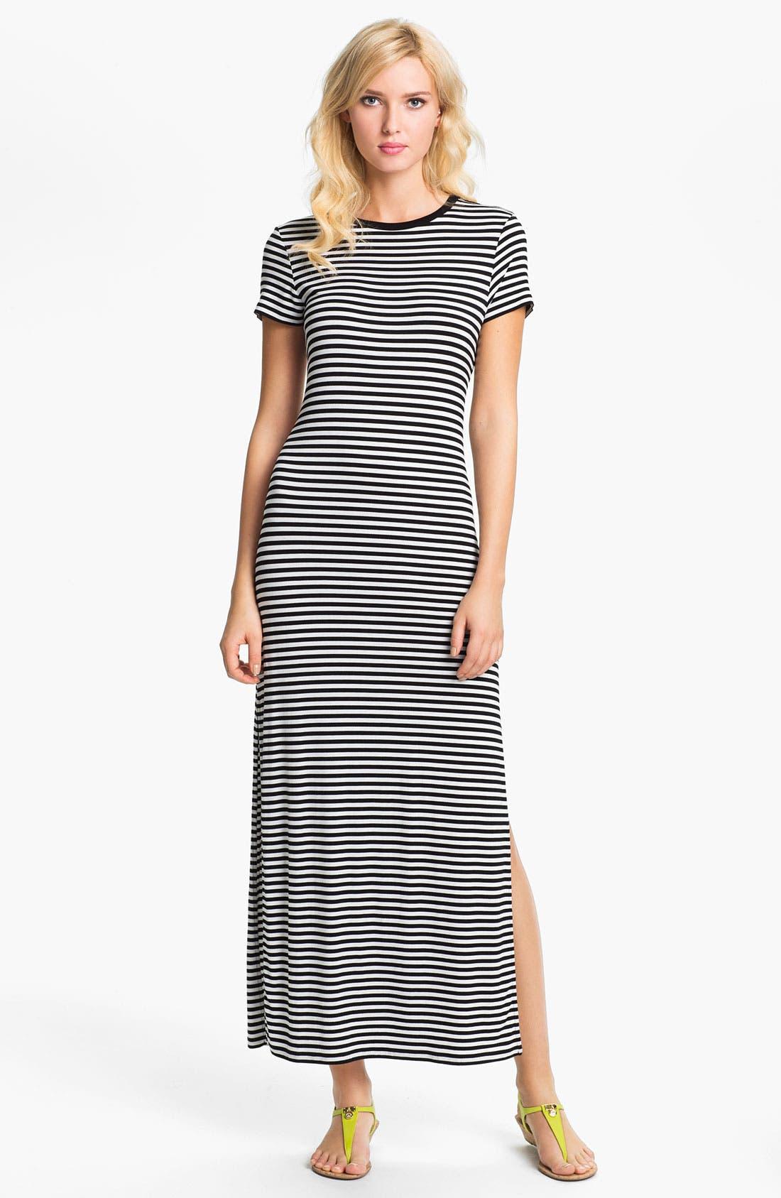 Main Image - MICHAEL Michael Kors Stripe Crewneck Maxi Dress