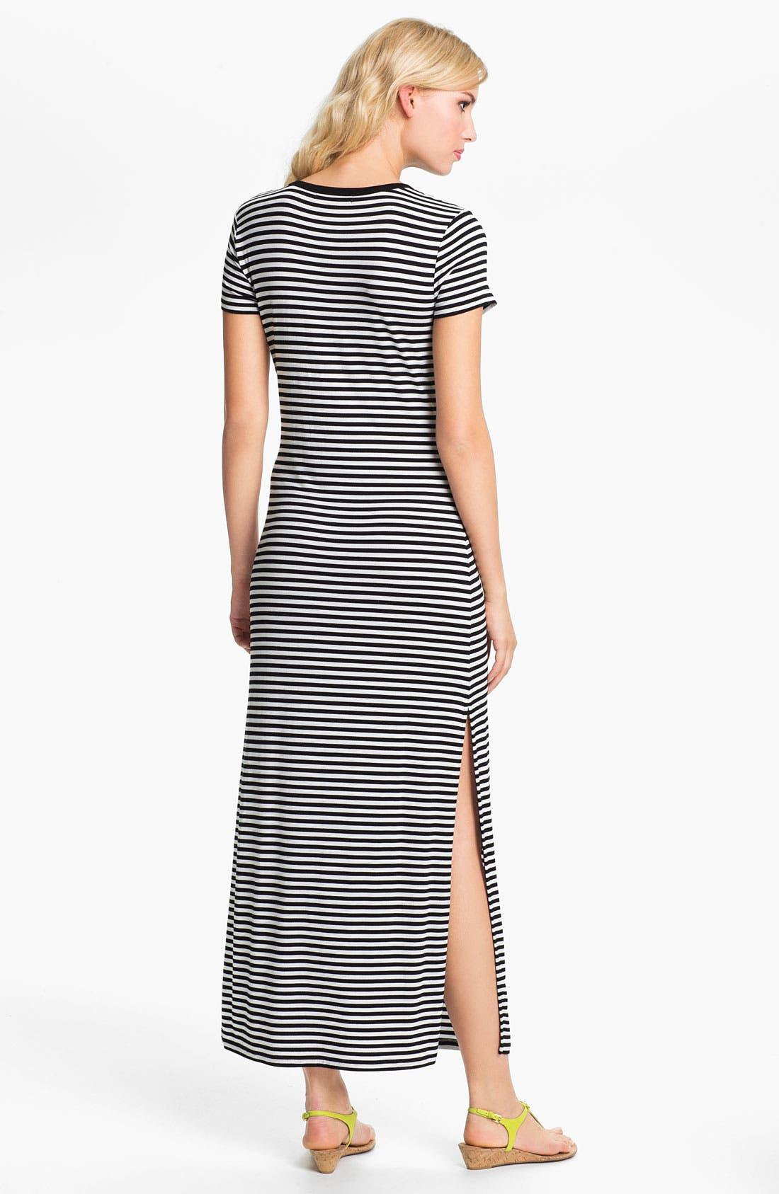 Alternate Image 2  - MICHAEL Michael Kors Stripe Crewneck Maxi Dress