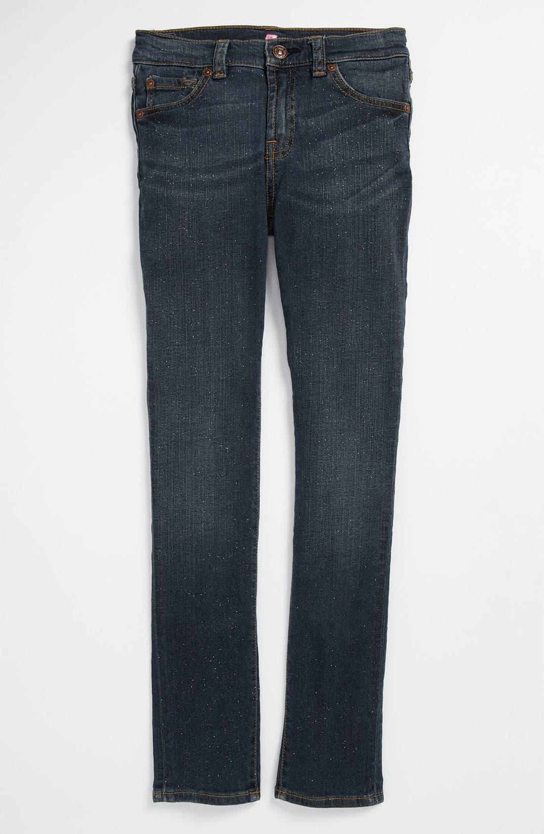 Alternate Image 2  - 7 For All Mankind® Sparkle Stretch Skinny Leg Jeans (Big Girls)