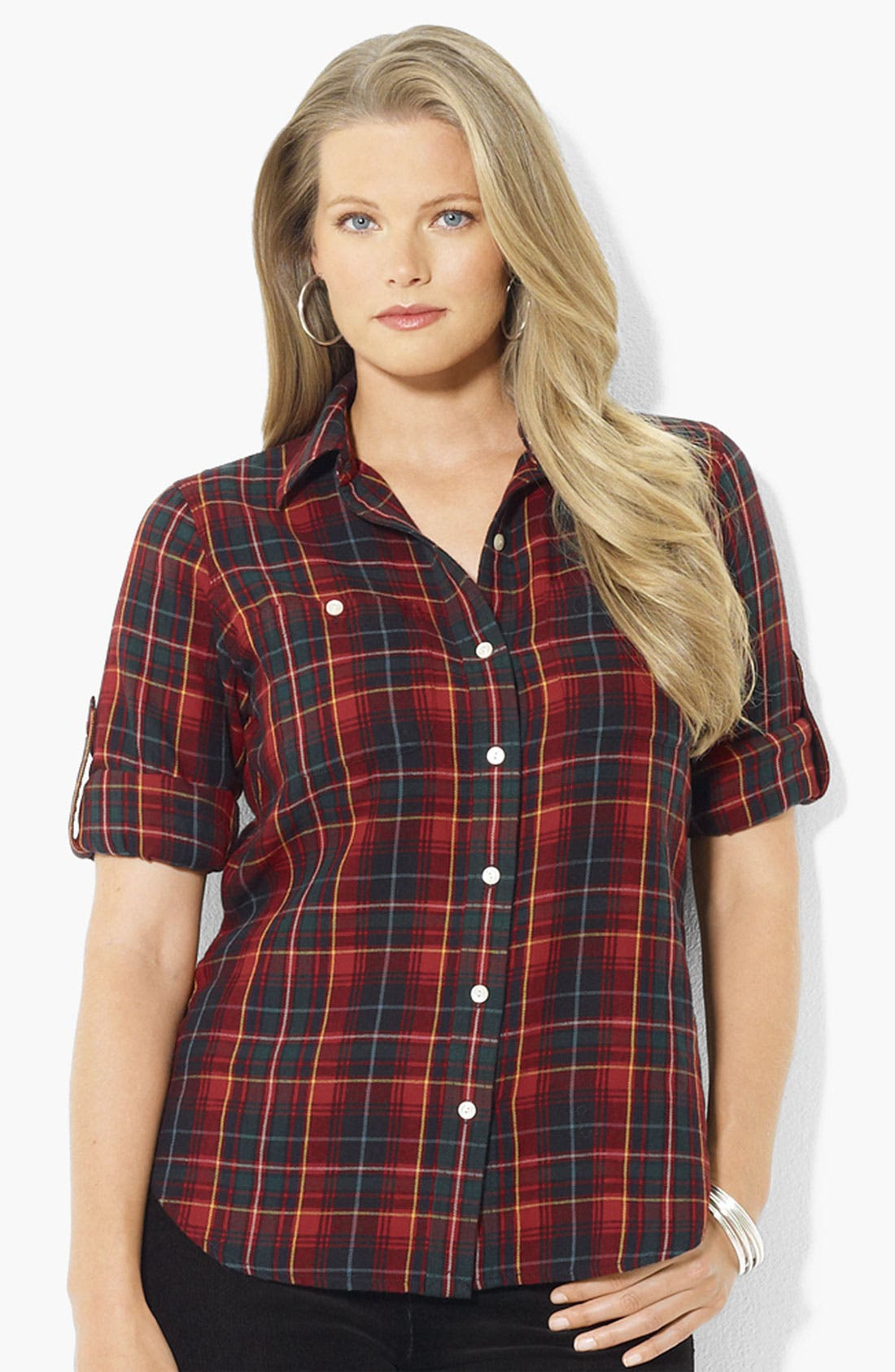 Main Image - Lauren Ralph Lauren Roll Sleeve Plaid Shirt (Plus)