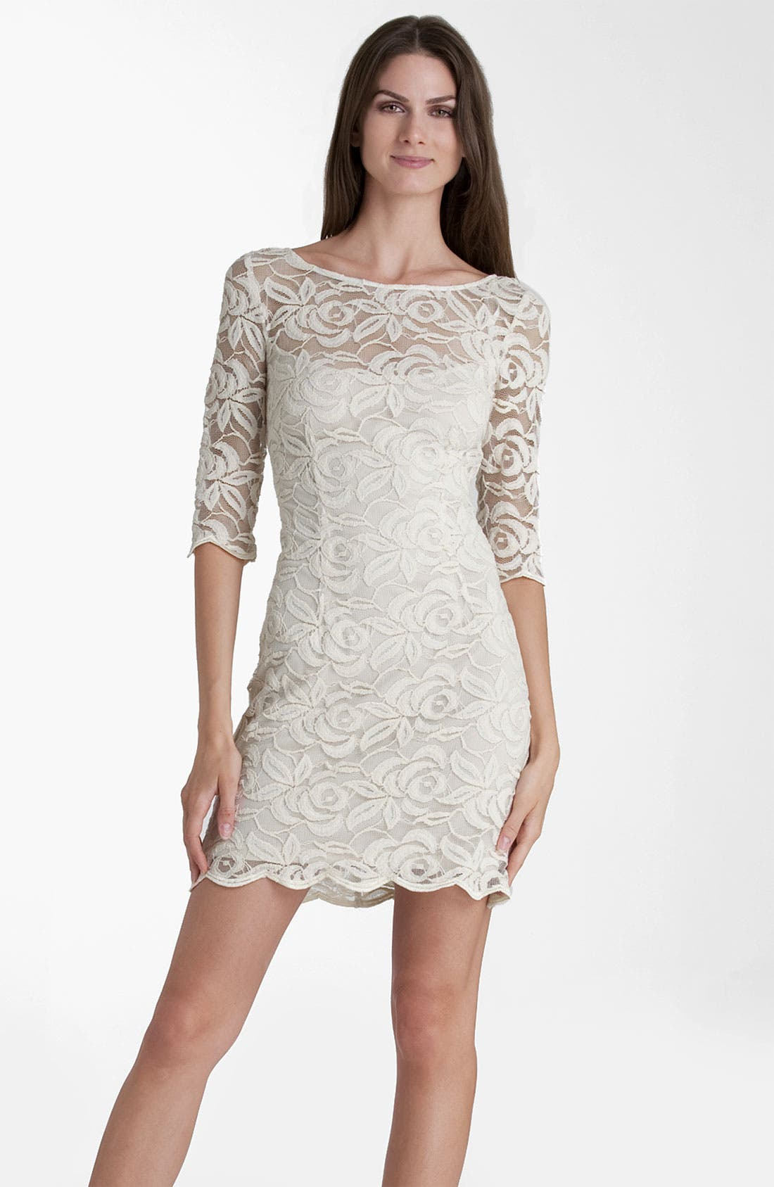 Alternate Image 1 Selected - JS Collections Boatneck Lace Overlay Sheath Dress (Petite)