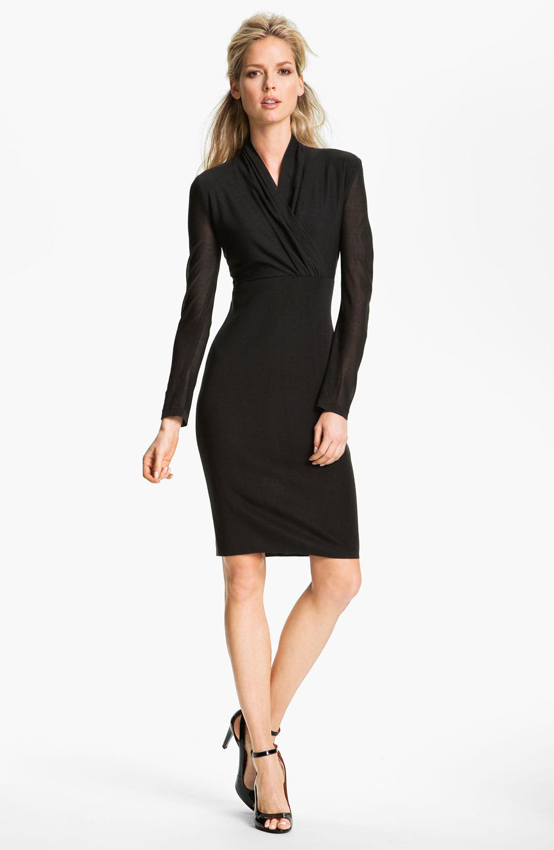 Main Image - Exclusively Misook Long Sleeve Surplice Dress