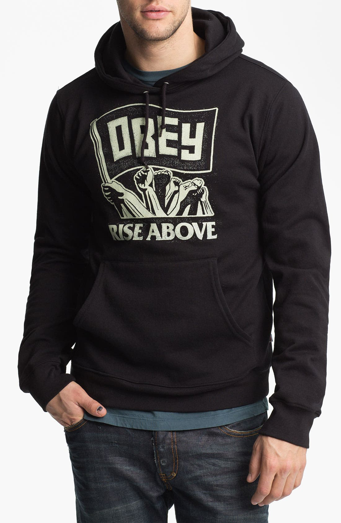 Main Image - Obey 'Rise Above - Flag' Graphic Hoodie