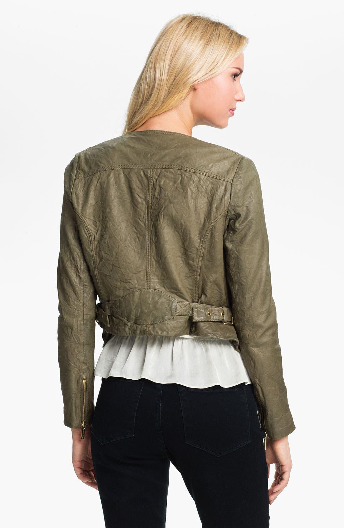 Alternate Image 2  - MICHAEL Michael Kors Soft Leather Jacket (Petite)