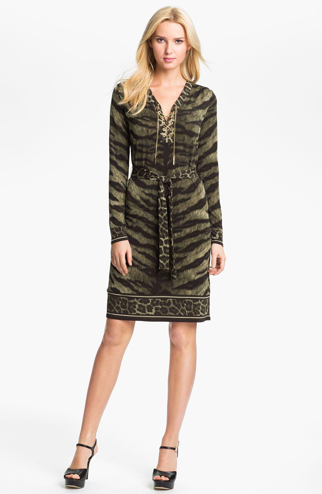 Alternate Image 1 Selected - MICHAEL Michael Kors Print Lace Up Dress