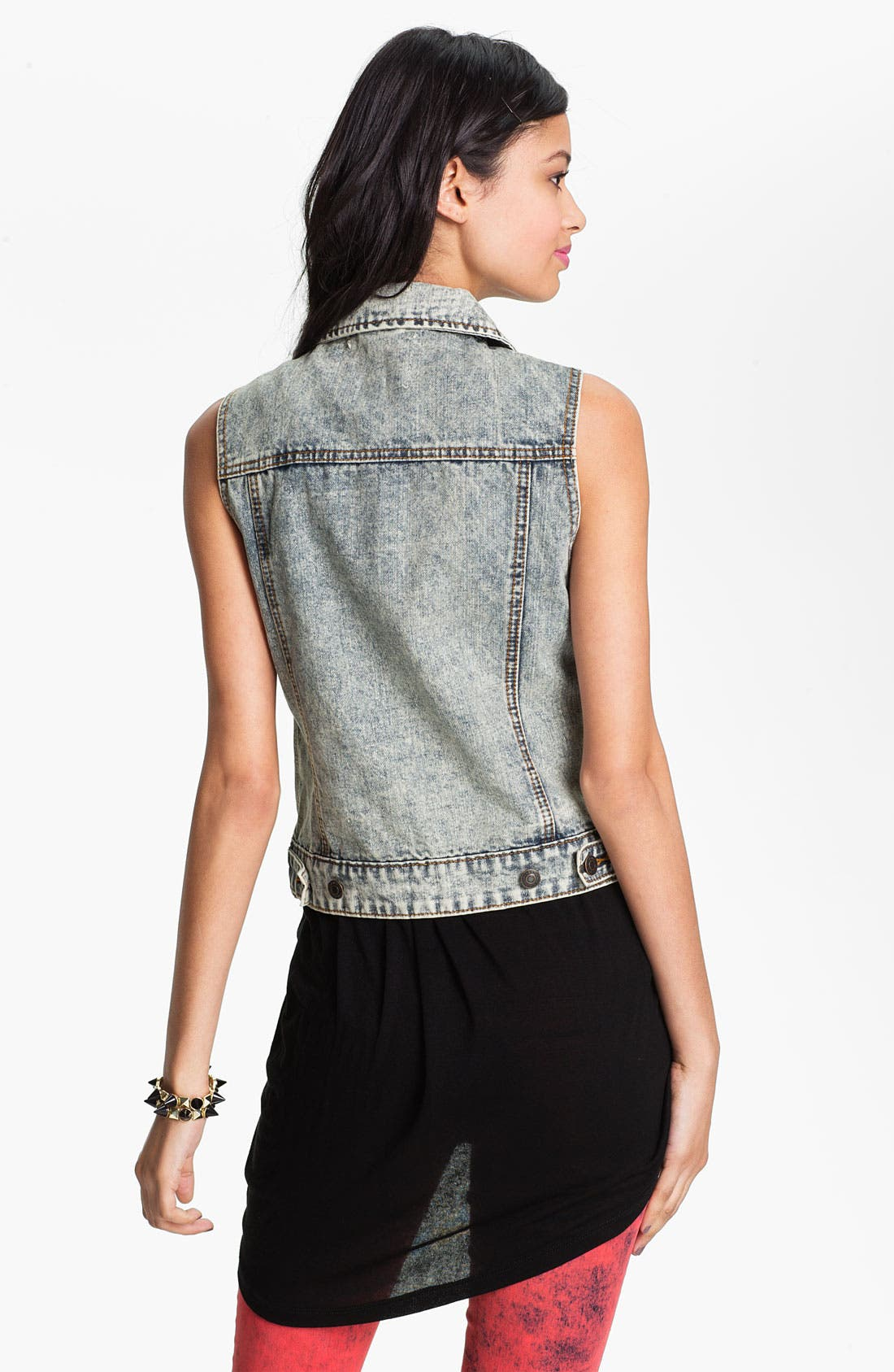 Alternate Image 2  - Thread & Supply Acid Wash Denim Vest (Juniors)