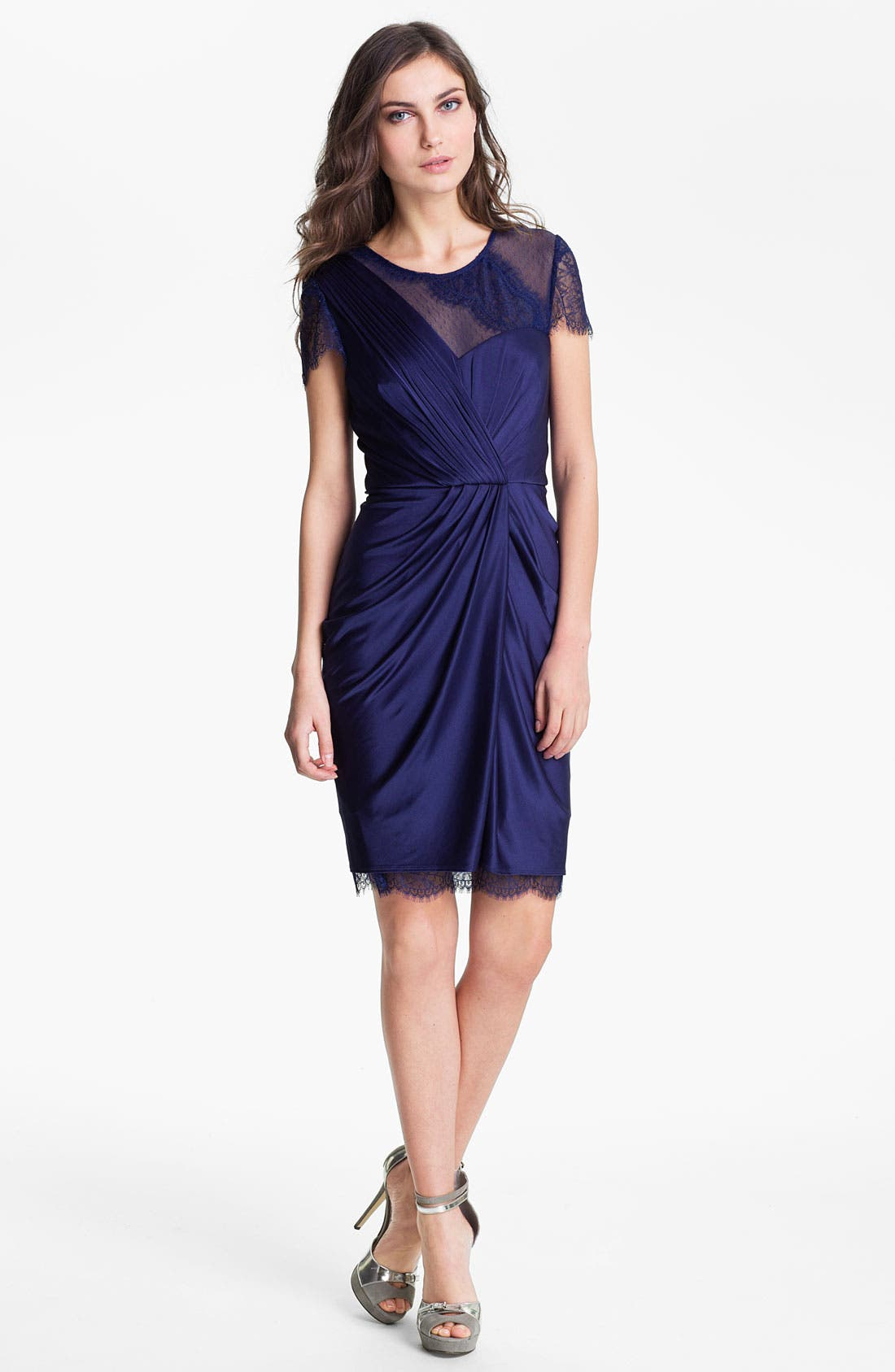 Main Image - BCBGMAXAZRIA Lace Sleeve Gathered Jersey Dress
