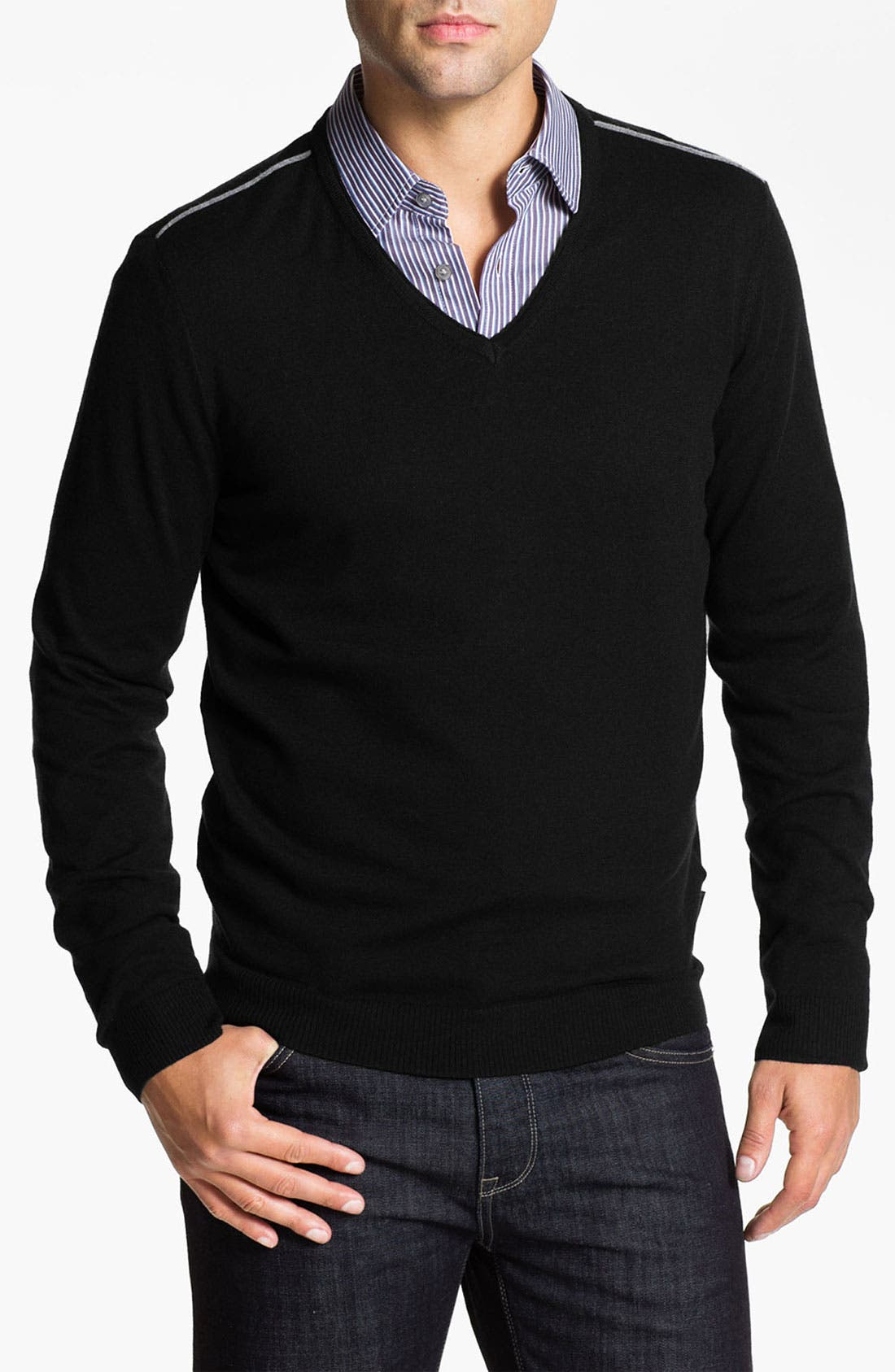 Alternate Image 1 Selected - BOSS Black 'Lukas' V-Neck Wool Blend Sweater