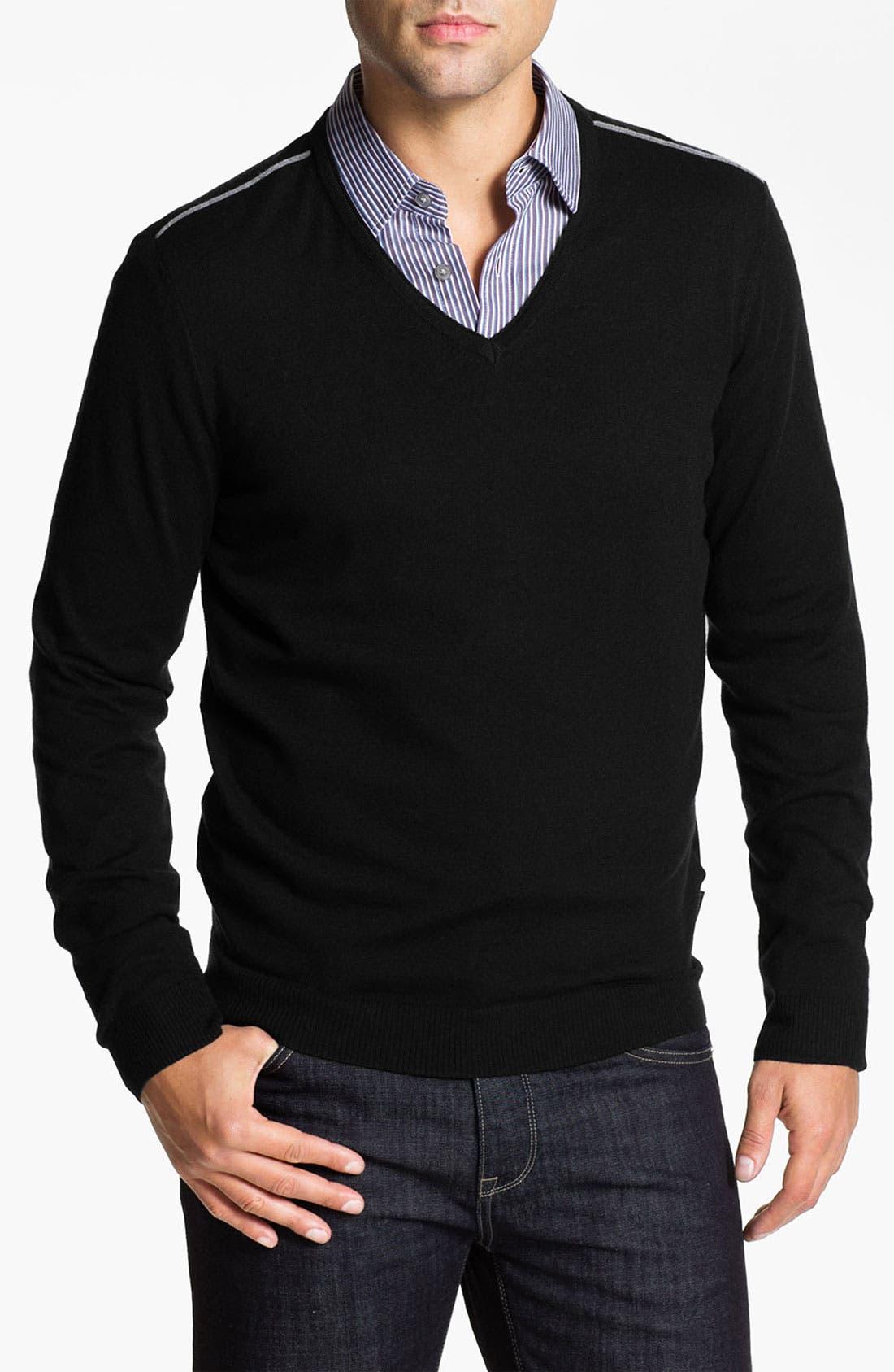 Main Image - BOSS Black 'Lukas' V-Neck Wool Blend Sweater