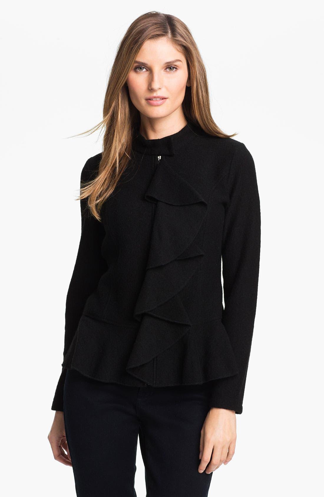 Alternate Image 1 Selected - Beatrix Ost Ruffled Zip Front Jacket (Online Exclusive)