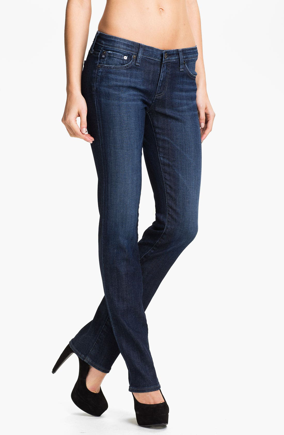 Alternate Image 1 Selected - AG Jeans Straight Leg Stretch Denim Jeans (Savannah)