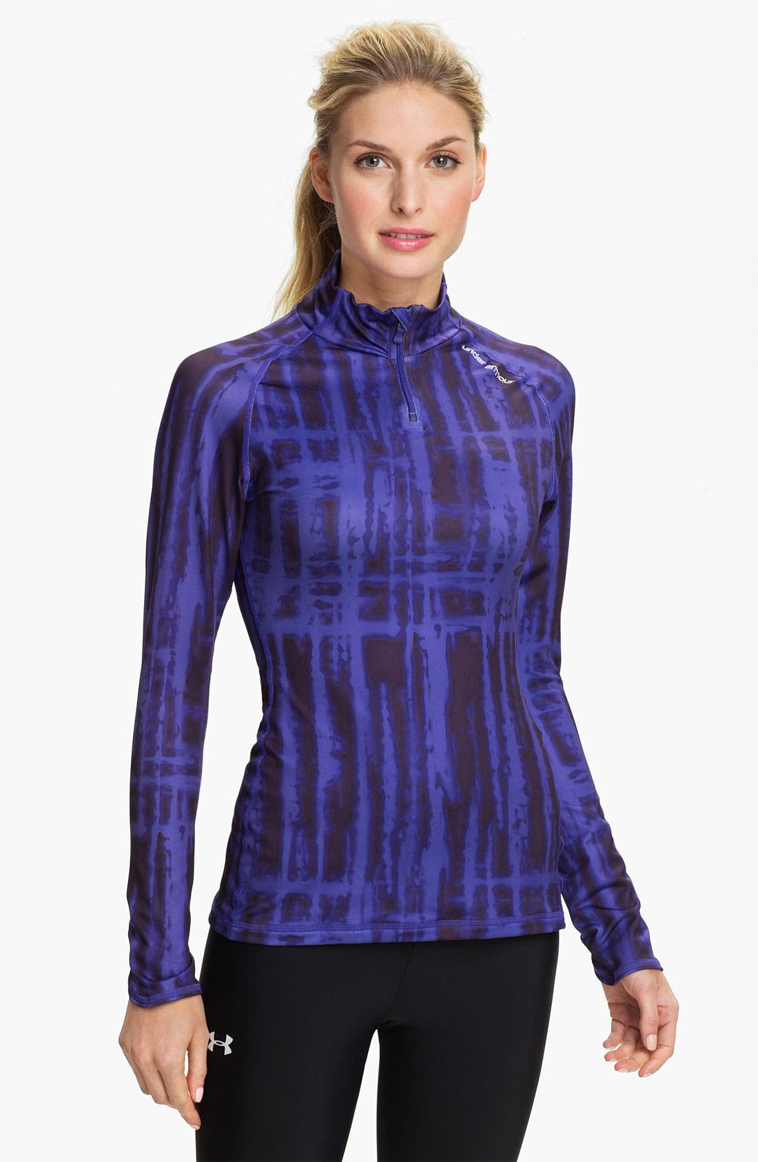 Alternate Image 1 Selected - Under Armour ColdGear® Print Quarter Zip Top