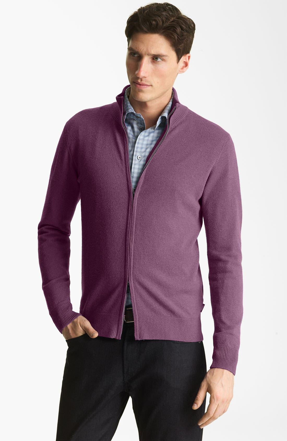 Alternate Image 1 Selected - Armani Collezioni Zip Sweater