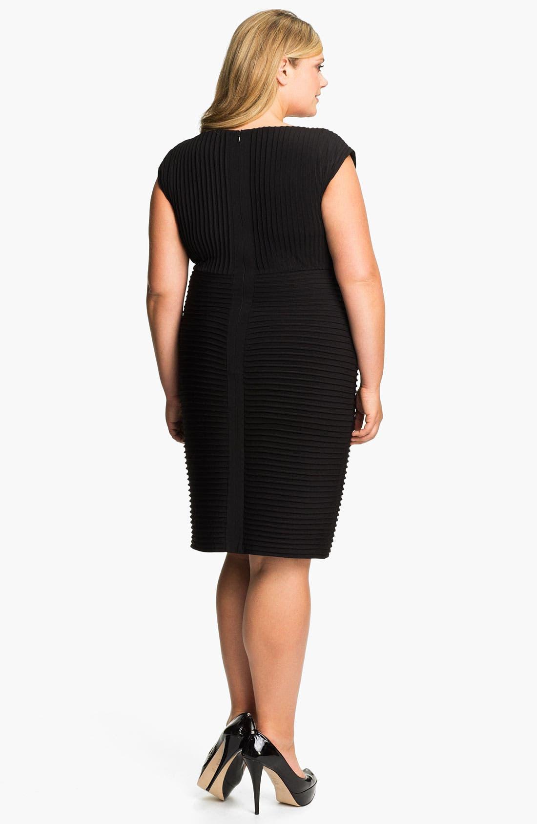 Alternate Image 2  - Calvin Klein Pleated Matte Jersey Sheath Dress (Plus)