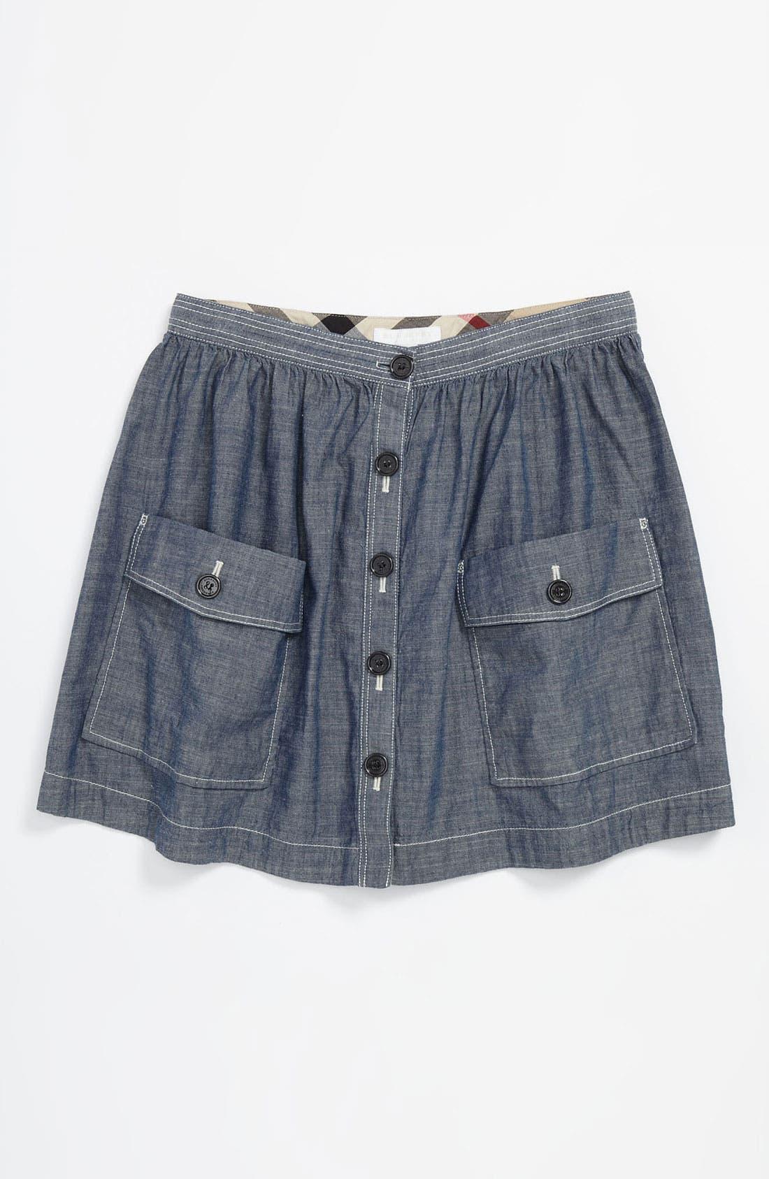 Main Image - Burberry 'Silvie' Button Front Chambray Skirt (Little Girls & Big Girls)