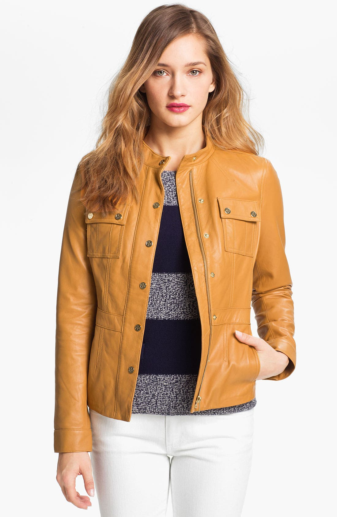 Main Image - Tory Burch 'Beacon' Leather Moto Jacket