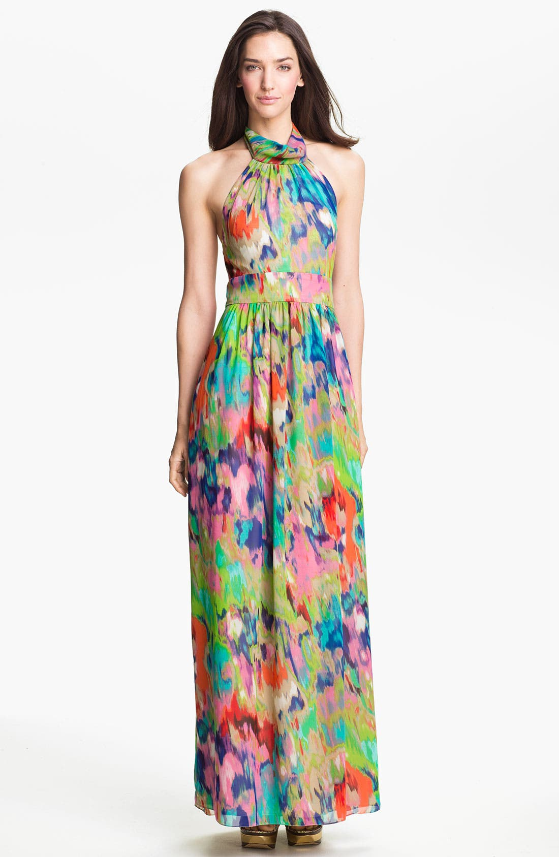 Alternate Image 1 Selected - Eliza J Halter Print Chiffon Maxi Dress