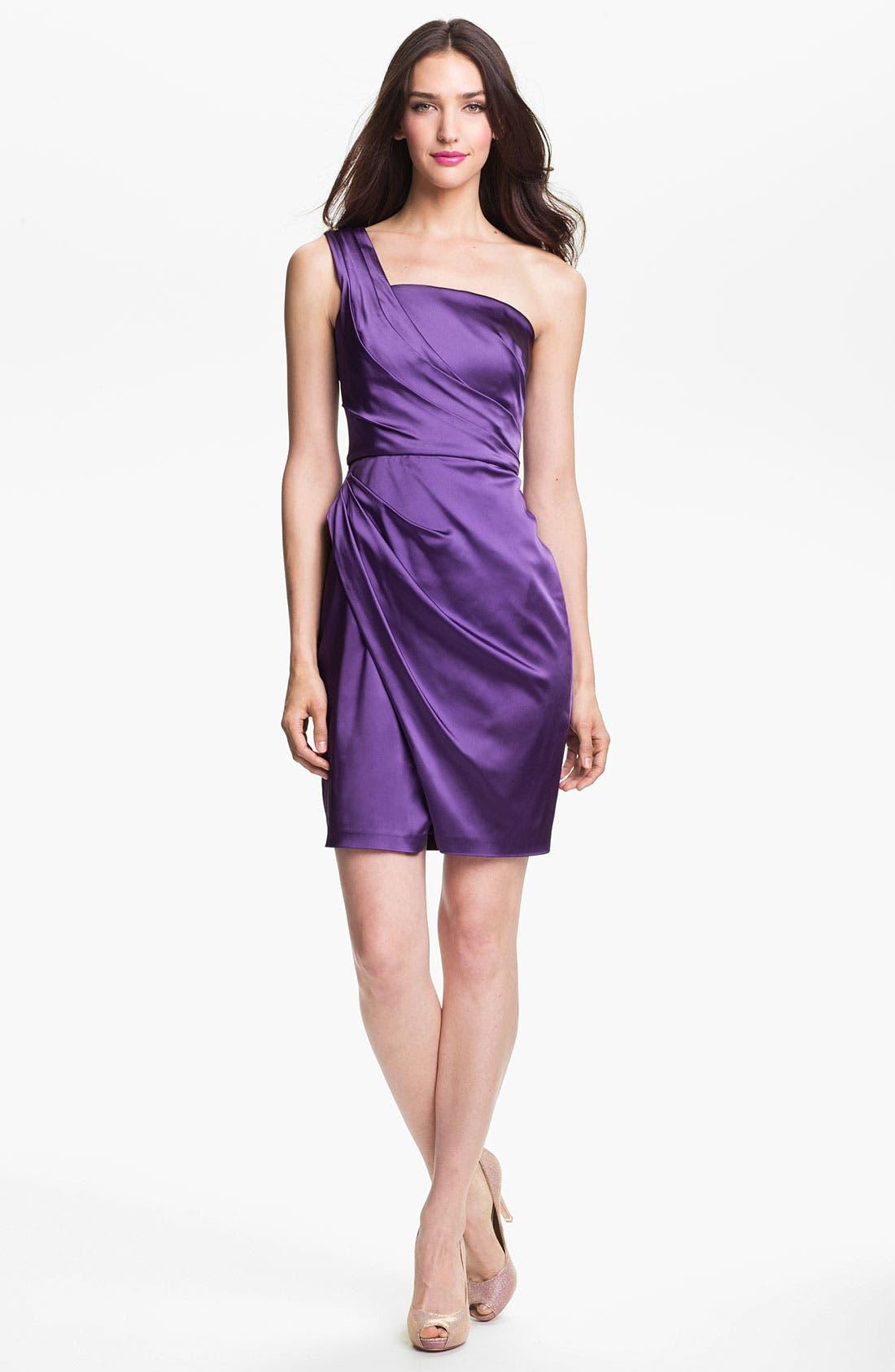 Alternate Image 1 Selected - Jill Stuart One Shoulder Side Ruched Satin Sheath Dress