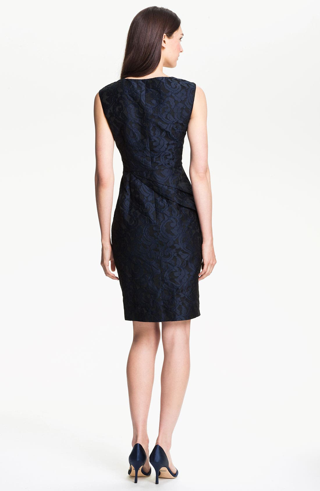 Alternate Image 2  - Adrianna Papell Side Peplum Jacquard Sheath Dress