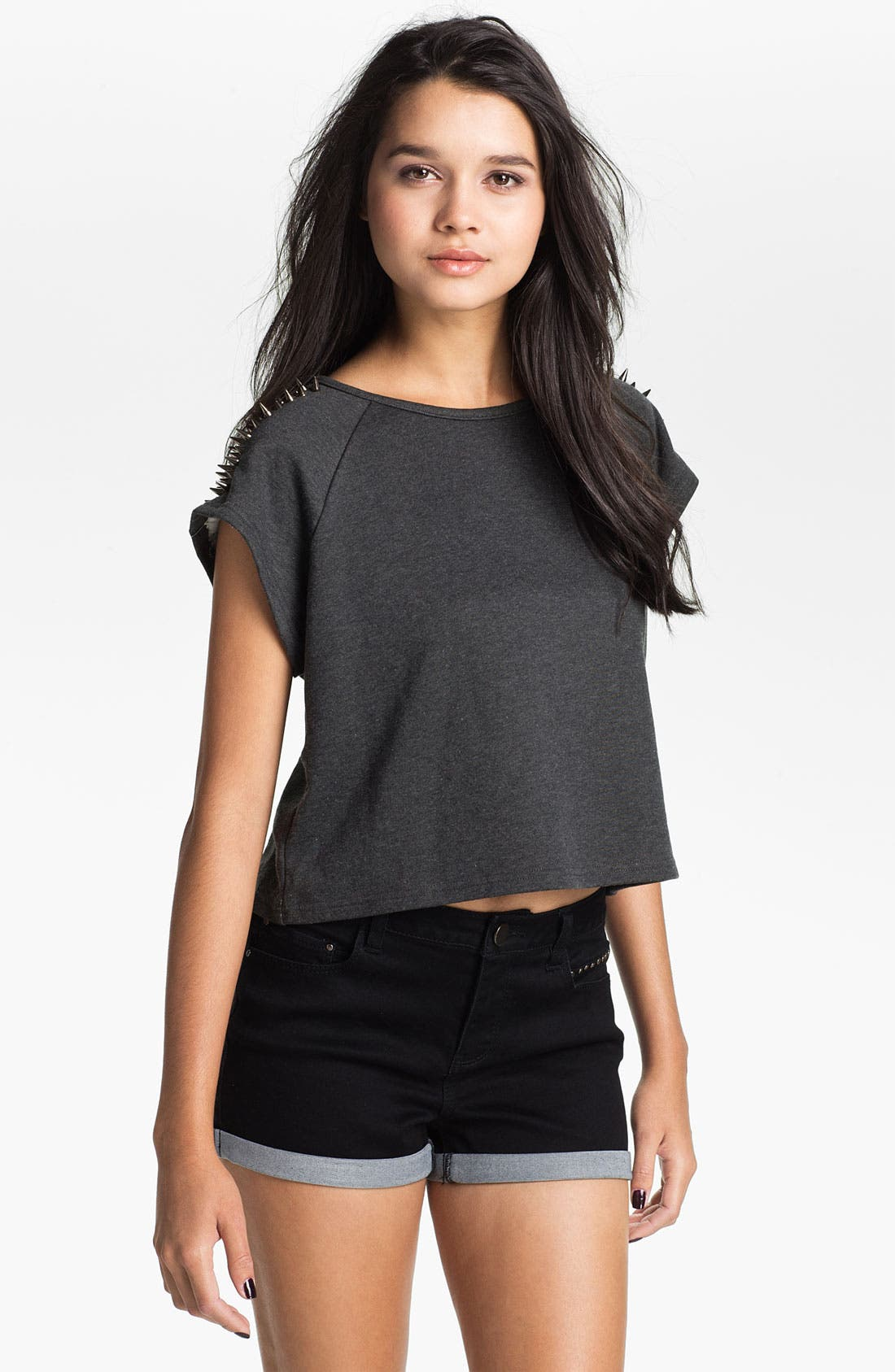 Main Image - Elodie Stud Shoulder Crop Sweatshirt (Juniors)