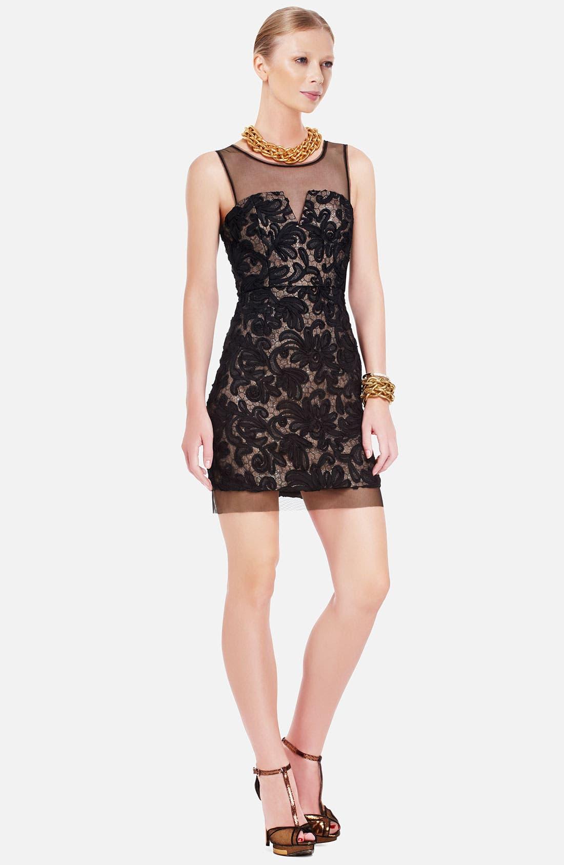 Alternate Image 1 Selected - BCBGMAXAZRIA Embroidered Illusion Yoke Sheath Dress