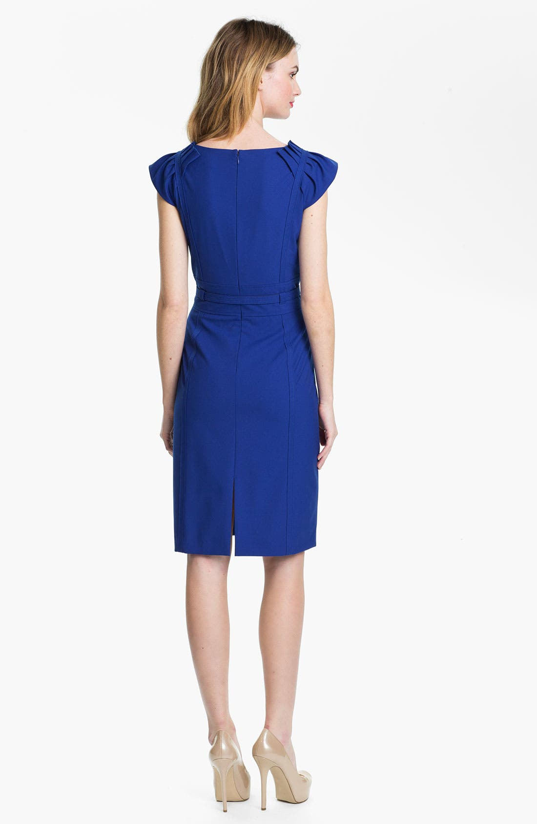 Alternate Image 2  - Tahari Cap Sleeve Belted Sheath Dress (Petite)