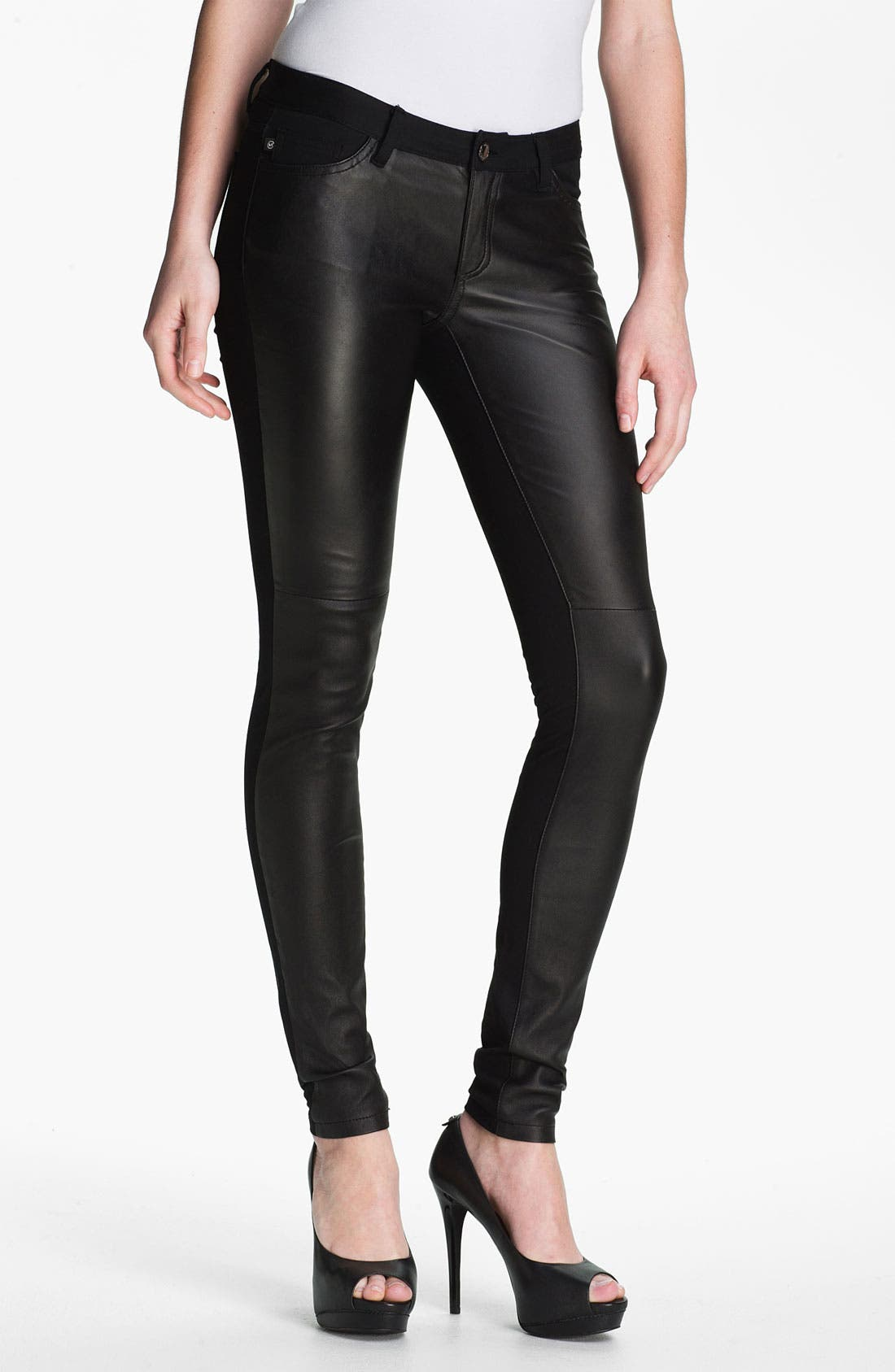 Alternate Image 1 Selected - MICHAEL Michael Kors Leather & Twill Pants