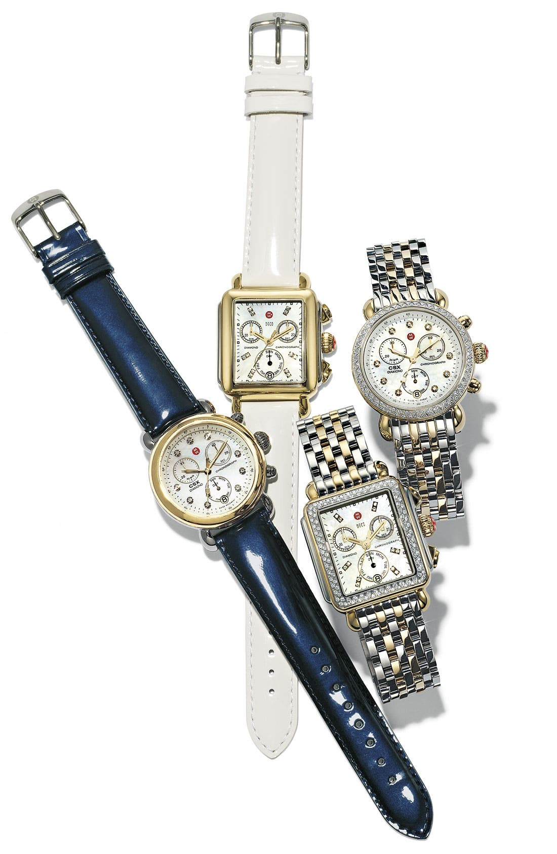 Alternate Image 1 Selected - MICHELE 'CSX-36' Diamond Dial Two-Tone Watch Case & 18mm Navy Patent Leather Strap