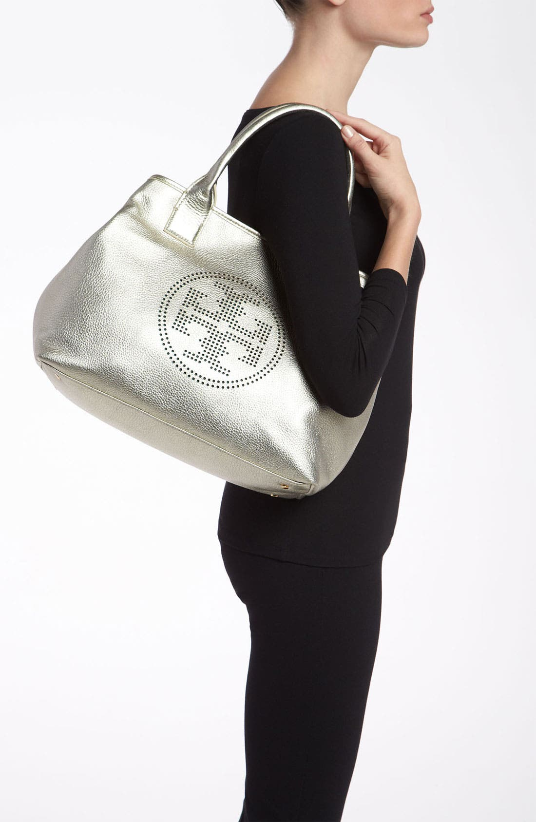 Alternate Image 2  - Tory Burch 'Small' Perforated Logo Metallic Classic Tote