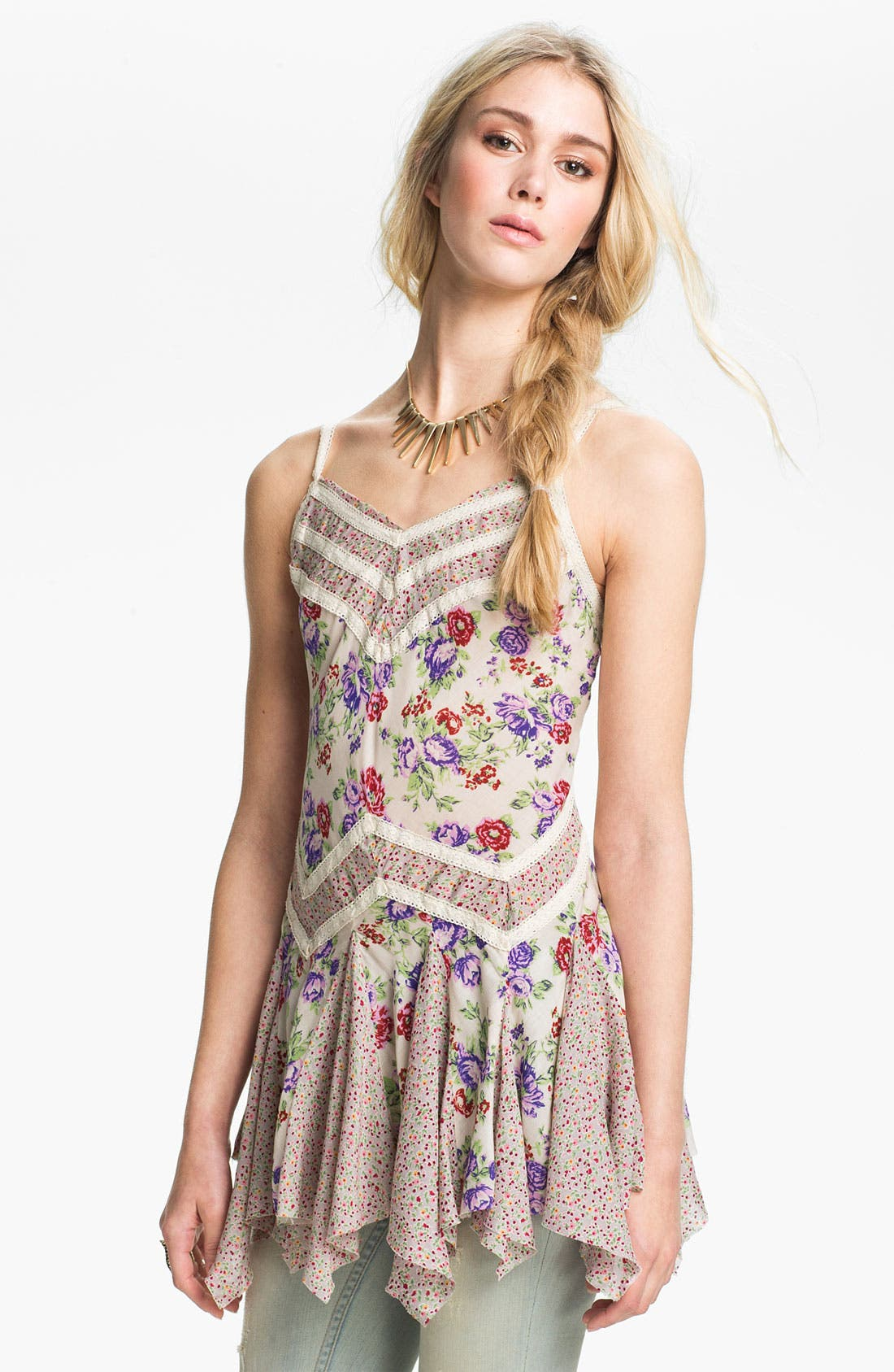 Alternate Image 1 Selected - Free People Mixed Print Godet Slip Tunic