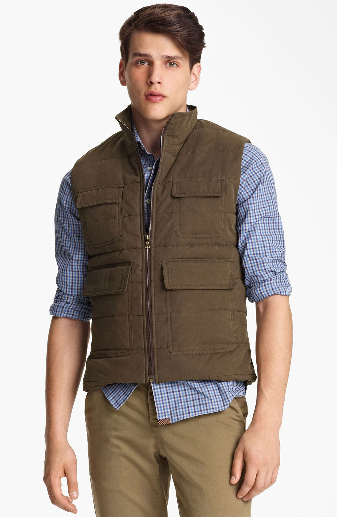 Alternate Image 1 Selected - Billy Reid Quilted Puffer Vest with Shearling Lining