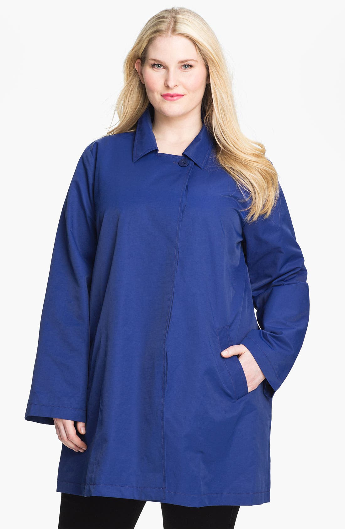 Main Image - Eileen Fisher Classic Collar A-Line Coat (Plus)