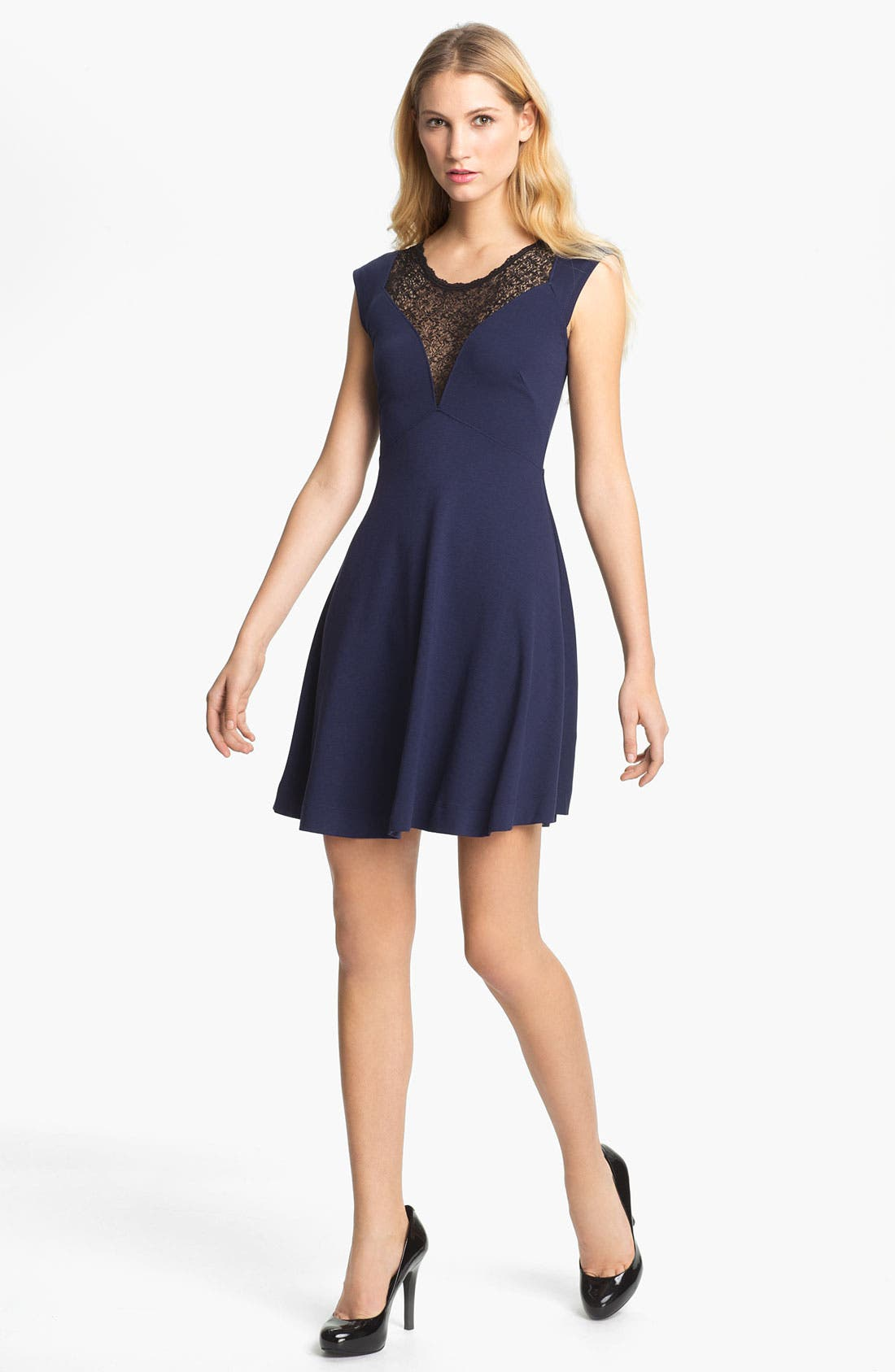 Main Image - French Connection 'Alicia' Lace Yoke Skater Dress