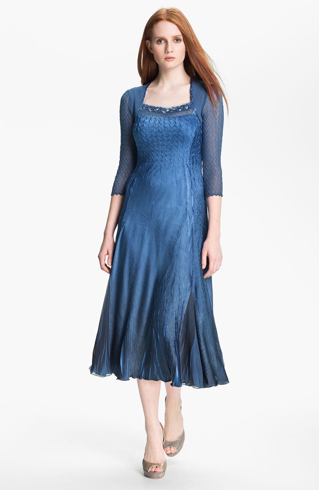 Main Image - Komarov Embellished Square Neck Textured Charmeuse Dress