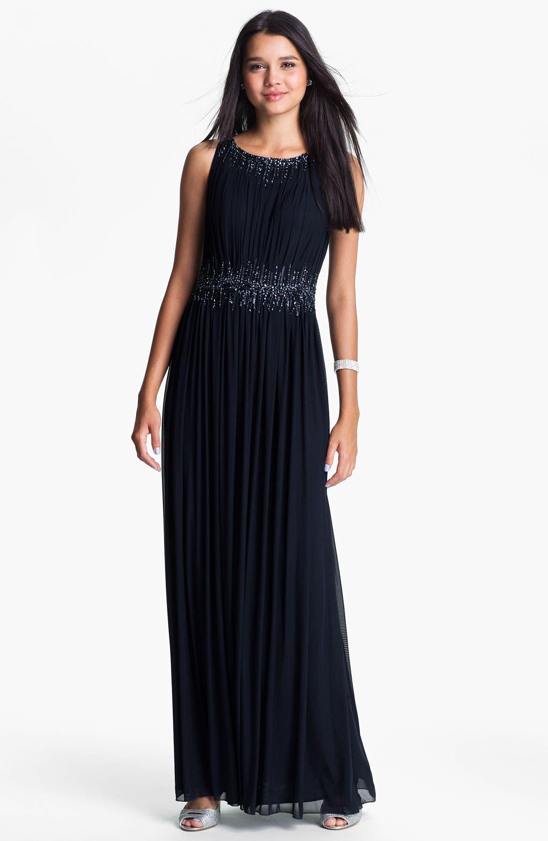 Main Image - La Femme Embellished Waist Mesh Column Gown