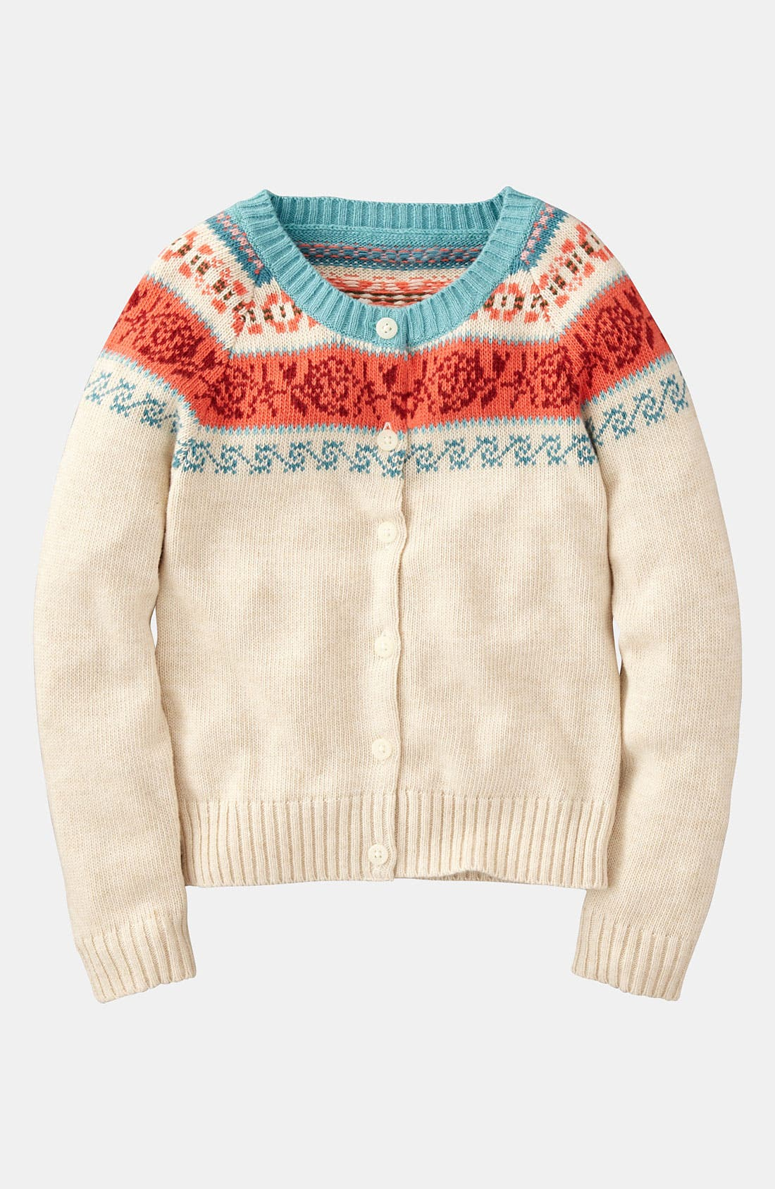 Alternate Image 1 Selected - Mini Boden Fair Isle Print Cardigan (Toddler)