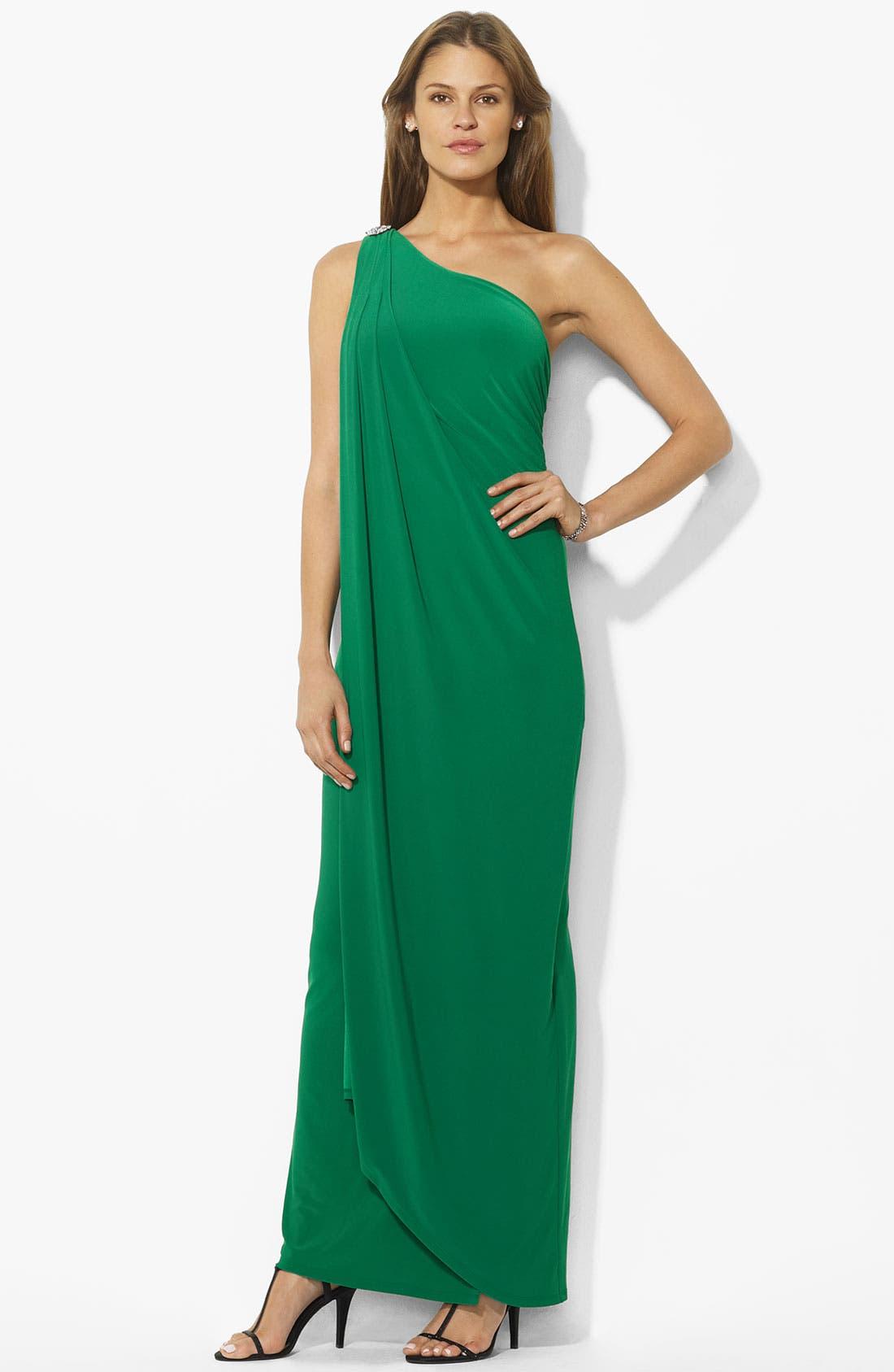 Main Image - Lauren Ralph Lauren Embellished One Shoulder Gown