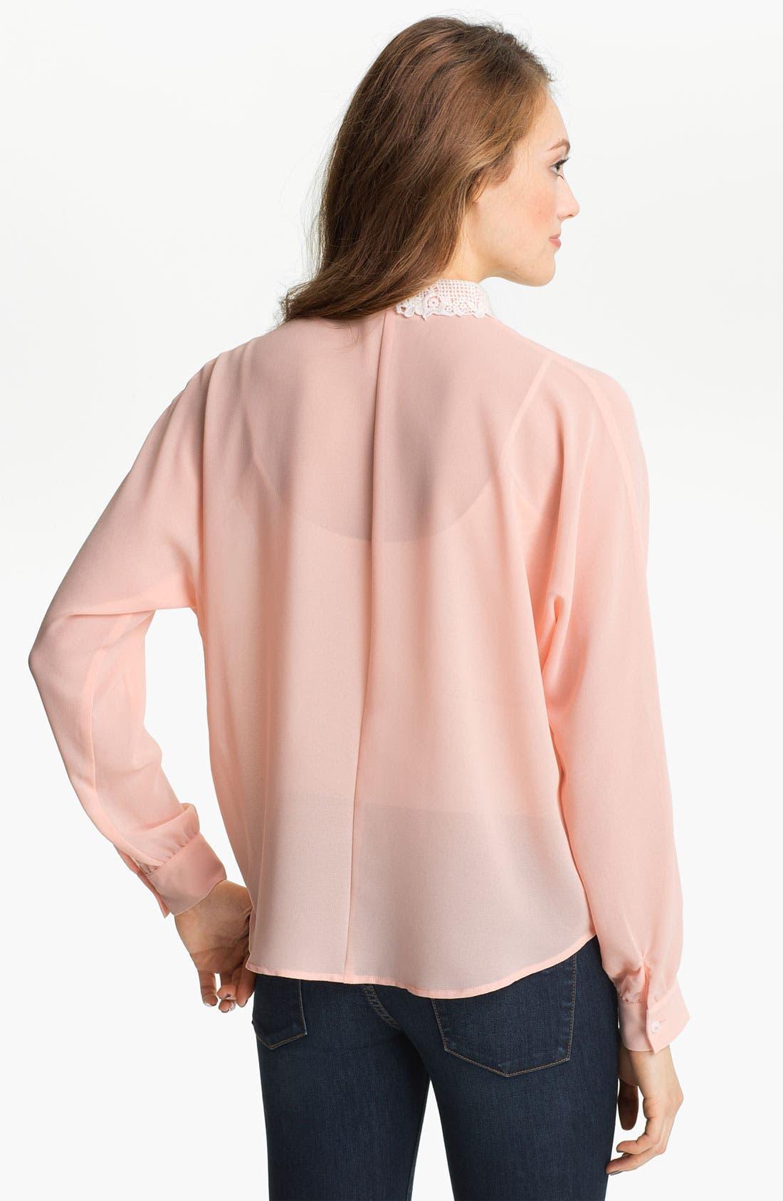 Alternate Image 2  - Elodie Lace Collar Chiffon Shirt (Juniors)