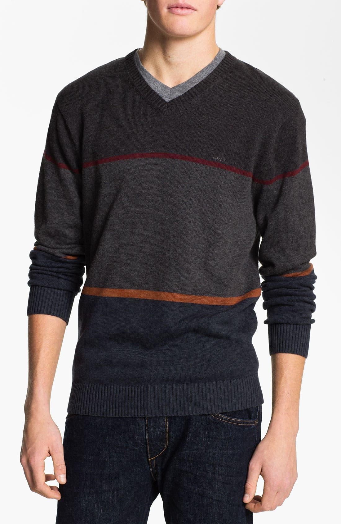Main Image - RVCA Stripe Crewneck Sweater