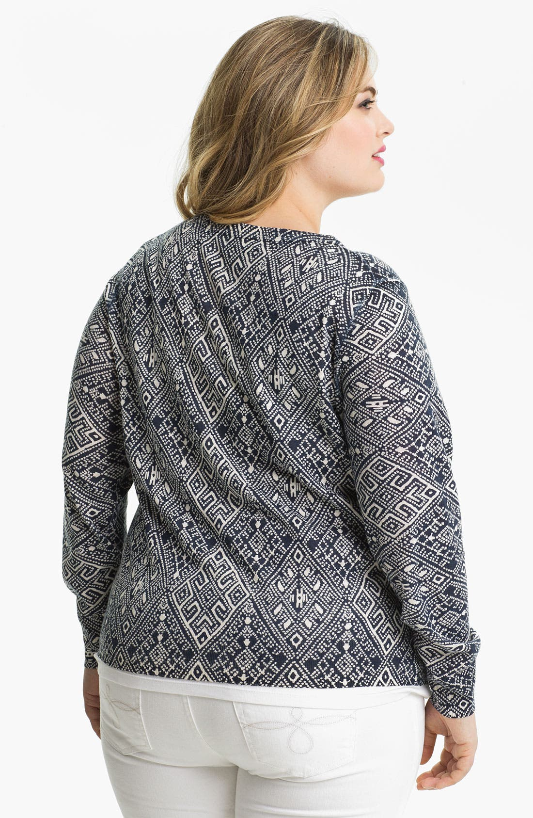 Alternate Image 2  - Lucky Brand Print Cardigan (Plus Size)