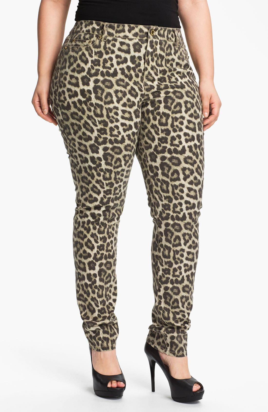 Alternate Image 1 Selected - MICHAEL Michael Kors 'Savannah' Leopard Print Skinny Jeans (Plus)
