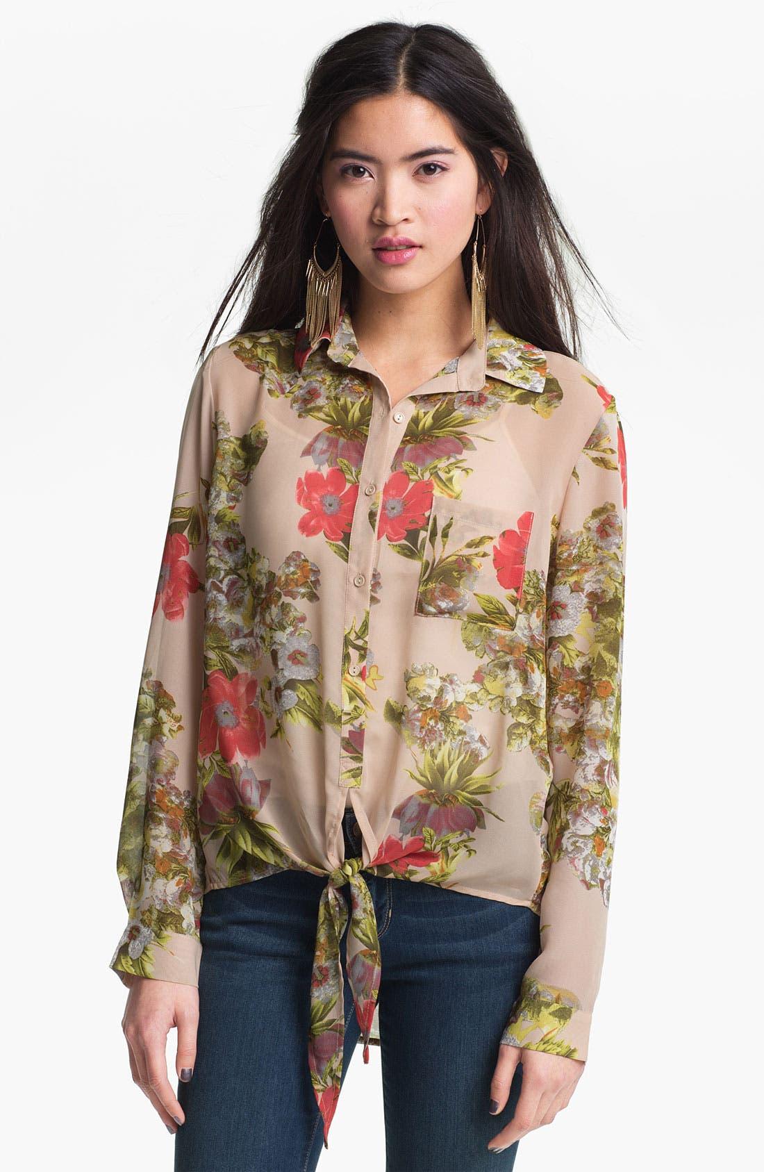 Alternate Image 1 Selected - Liberty Love Tie Front Sheer Floral Shirt (Juniors)