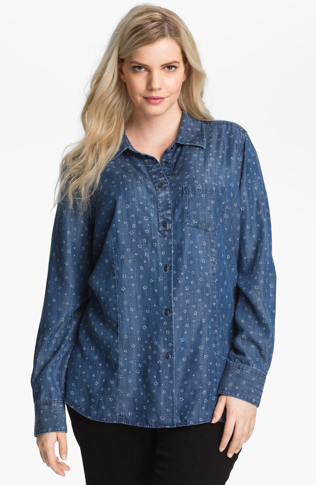 Main Image - Shirt 469 Print Cotton Shirt (Plus Size)