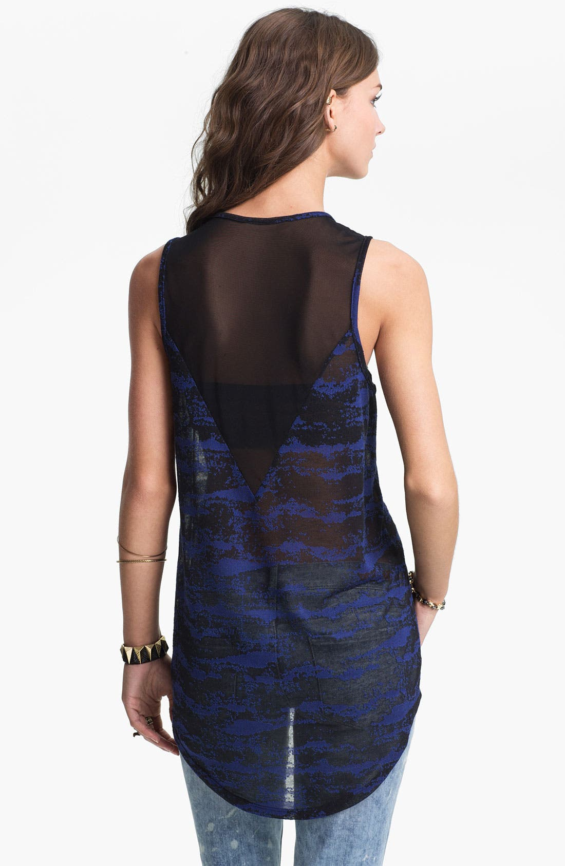 Alternate Image 2  - Lush Sheer Yoke Burnout Tank (Juniors)