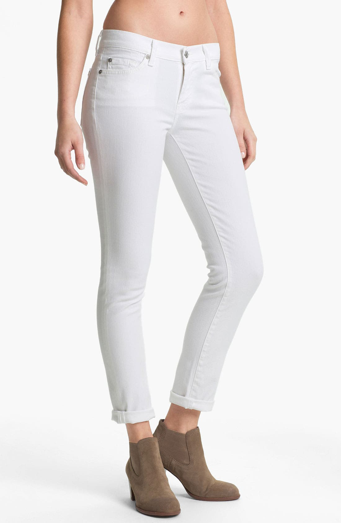 Main Image - 7 For All Mankind® 'The Slim Cigarette' Stretch Jeans (Clean White)