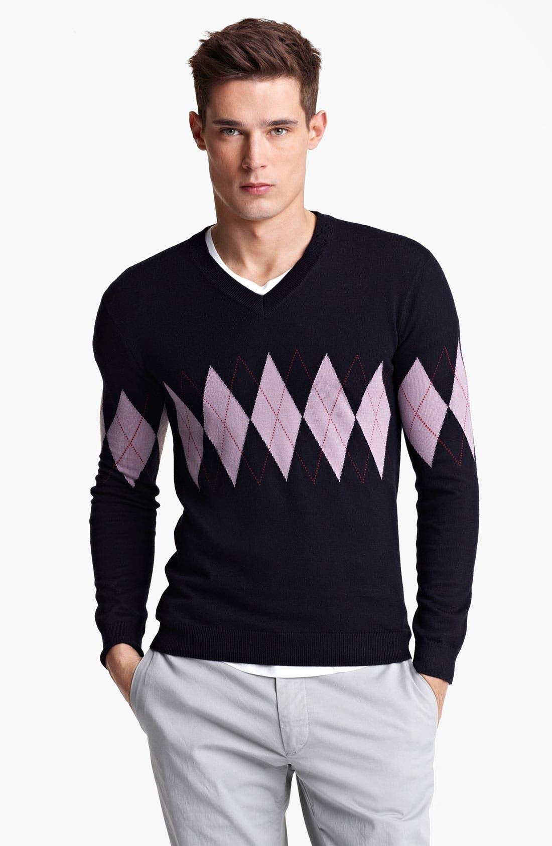 Alternate Image 1 Selected - Pringle of Scotland Argyle V-Neck Sweater