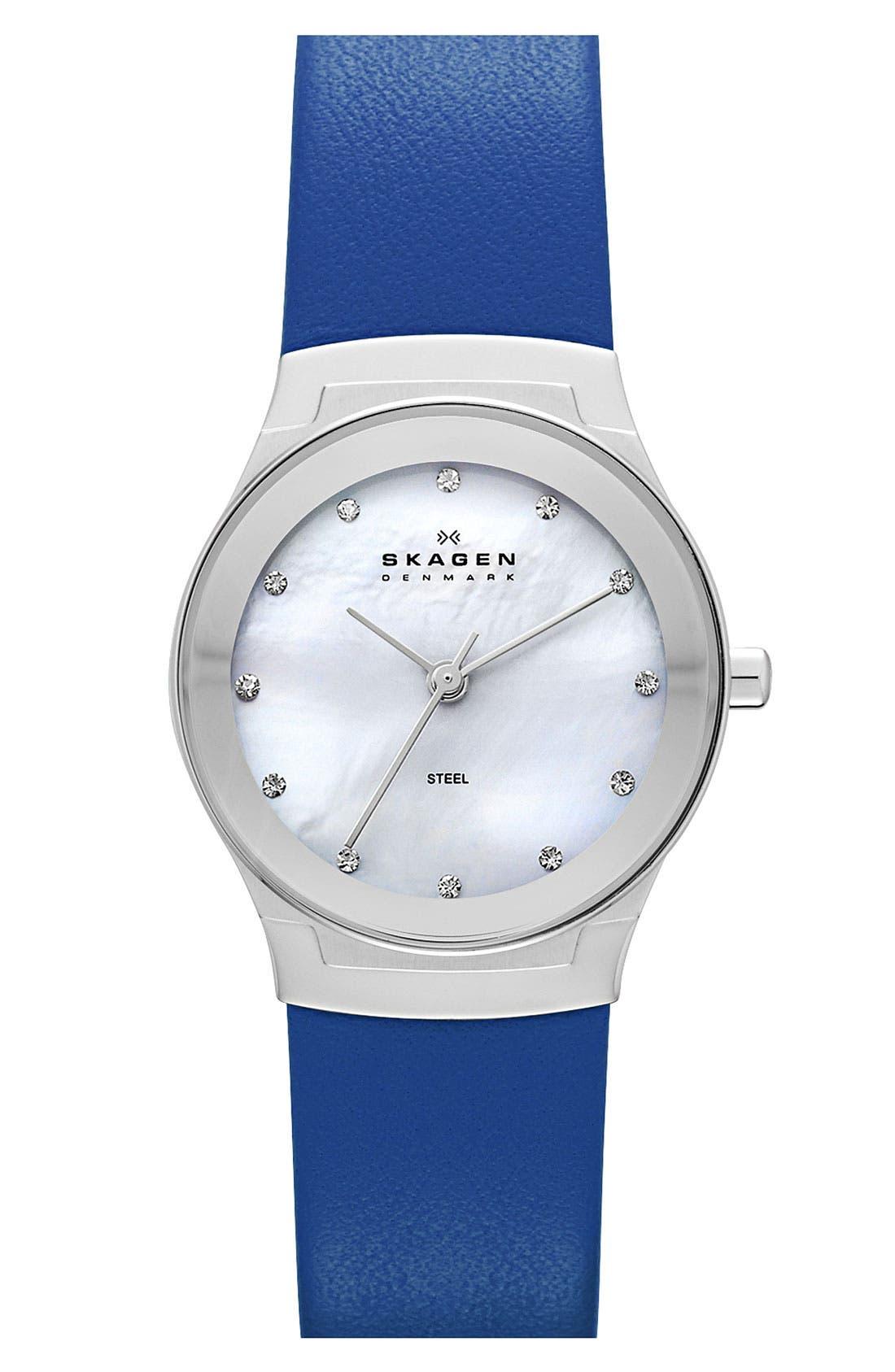 Main Image - Skagen Round Leather Strap Watch