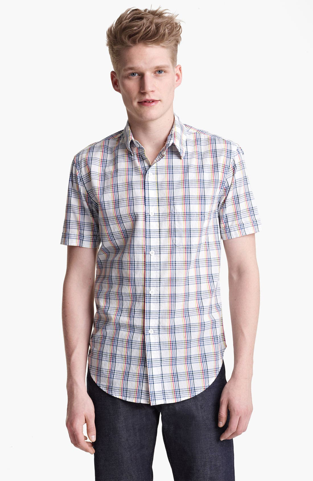 Alternate Image 1 Selected - Band of Outsiders Multi Check Woven Shirt