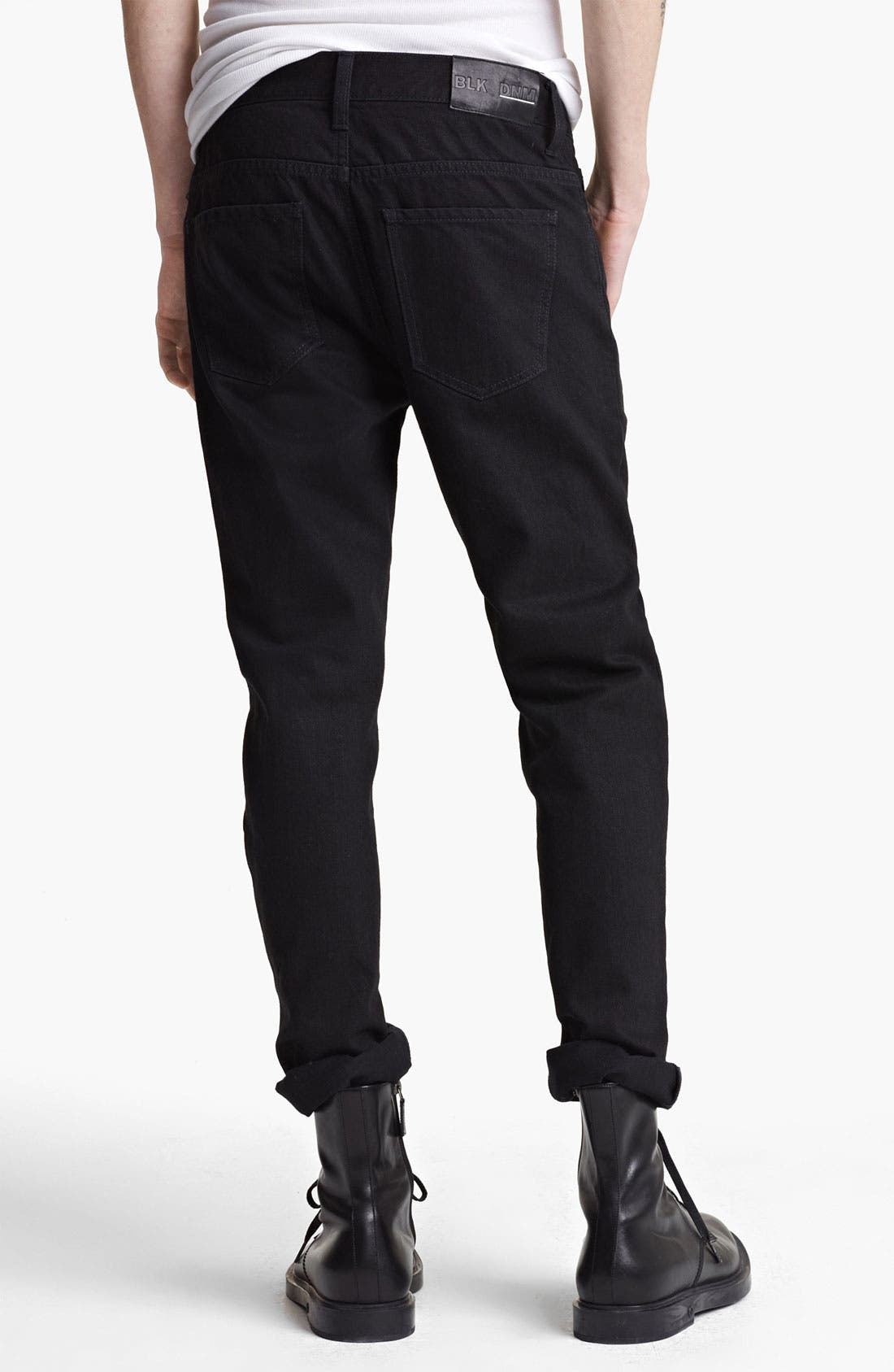 Alternate Image 2  - BLK DNM 'Jeans 5' Slim Straight Coated Denim Jeans (Jet Black)